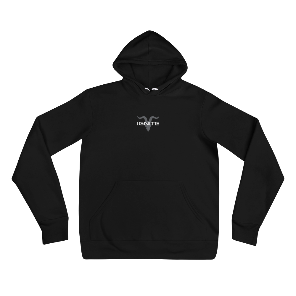 Simple Black Hoodie with Grey Logo - ignite-merch
