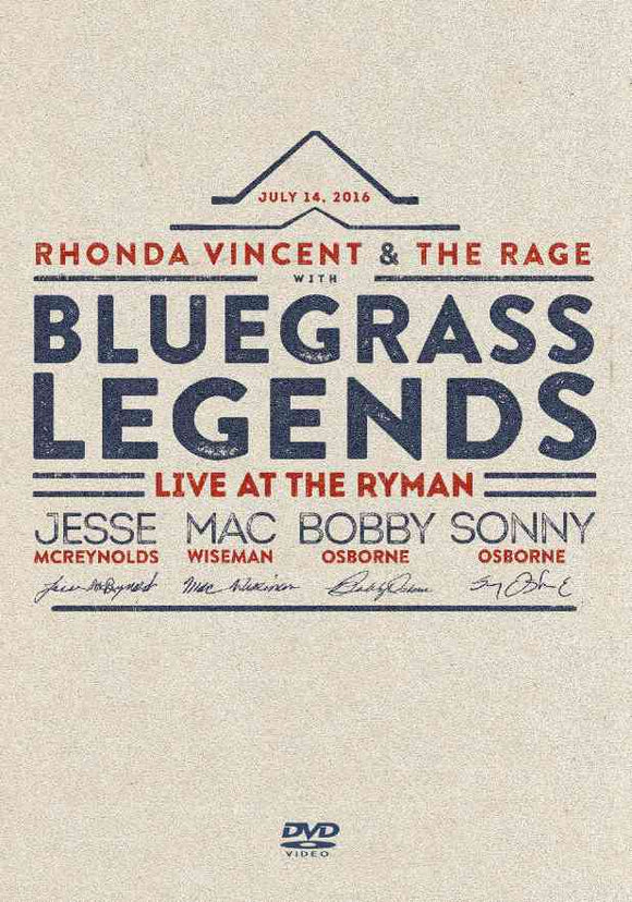 RHONDA VINCENT & THE RAGE with Bluegrass Legends 'Live at the Ryman'    UMM-013-DVD