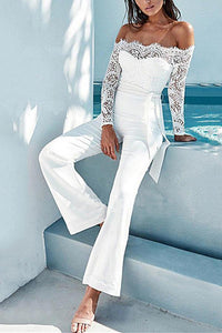 Sexy Shoulder Lace Long-Sleeved Straight Trousers