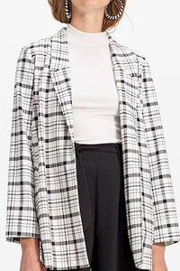 Notch Lapel  Slit Slit Pocket  Plaid  Long Sleeve Blazers