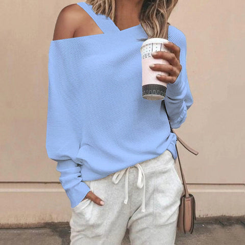 Women's Plain Off-Shoulder Top Sweater