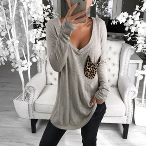 Casual v-neck solid color patch pocket long-sleeved loose Blouse