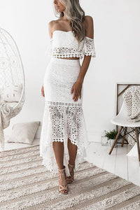 Sexy Backless  Lace Skirt With Blouse Two Piece Suit BodyconDress