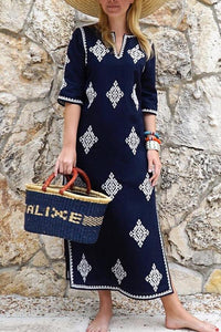 Fashion Half Sleeves Embroidered Maxi Vacation Casual Dress