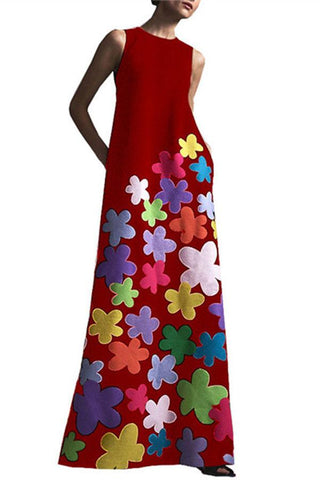 Fashion Round Collar Printing Maxi Dresses