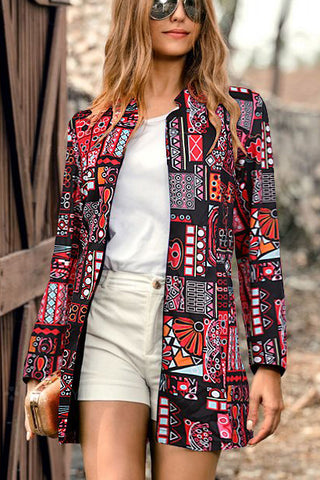 Retro Fashion Coat Slim Print Long Sleeve Suit Jacket