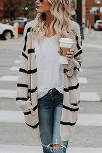 Easy Fashion Medium And Long Striped Cardigan