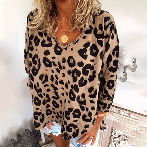Women's Casual Leopard Print V-Neck Long Sleeve Loose T-Shirt