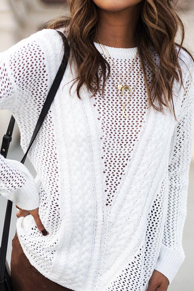 Round Neck Long Sleeve Casual Openwork Pullover Sweater Top