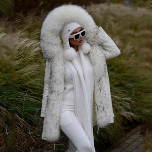 Noble Stitching Imitation Mane White Long-Sleeved Hooded Cotton Coat