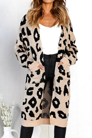 Leopard Pattern Long-Sleeved Knitted Long Sweater Jacket