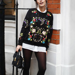Fashion Round Collar Long Sleeved Printed Sweatshirt