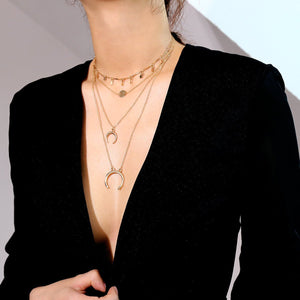 Fashion Rhombic Sequins Tassel Necklace