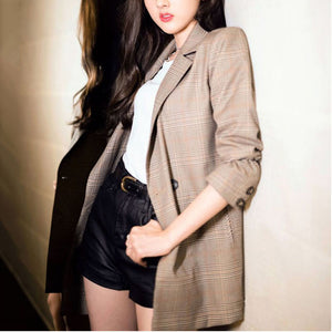 Fashion Loose Plaid Casual Suit Jacket
