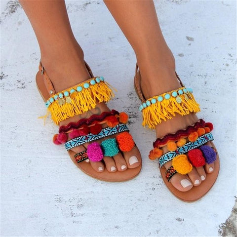 Fashion boho color tassel flat sandals