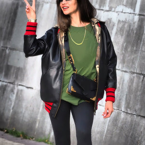 Fashion Long-Sleeved Print Spliced Hooded Jacket
