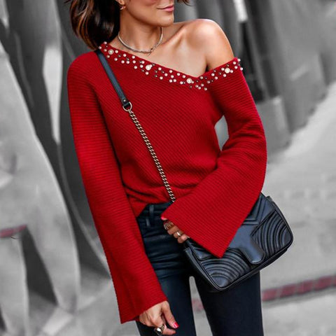 Beaded Bell Cuff One Shoulder Sweater