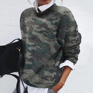 Women's Casual Stand Collar Camouflage Pattern Sweater