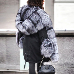 Women Faux Fur Jacket Warm Fluffy Coat for Winter Plus Size Coat