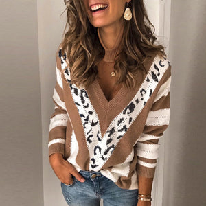 Casual V Neck Printed Color leopard Women's Sweater