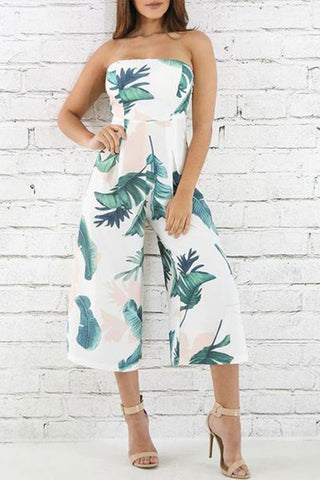 One-Word Collar Banana Leaf Floral Printed Wide Leg Jumpsuit Rompers