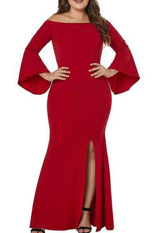 Plus-size Pure Color Off Shoulder Zippered Horn Long Sleeve High Waist Evening Dress
