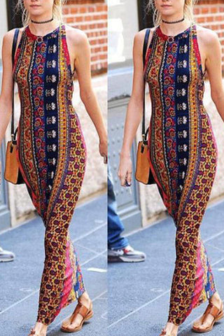 Crew Neck  Backless Lace-Up  Bohemian Maxi Dresses