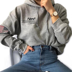 Casual Printed Hooded Long Sleeve Sweatshirt