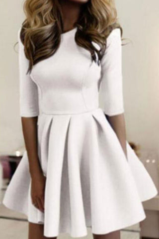 Slim Fashionable Solid Color Skater Dress