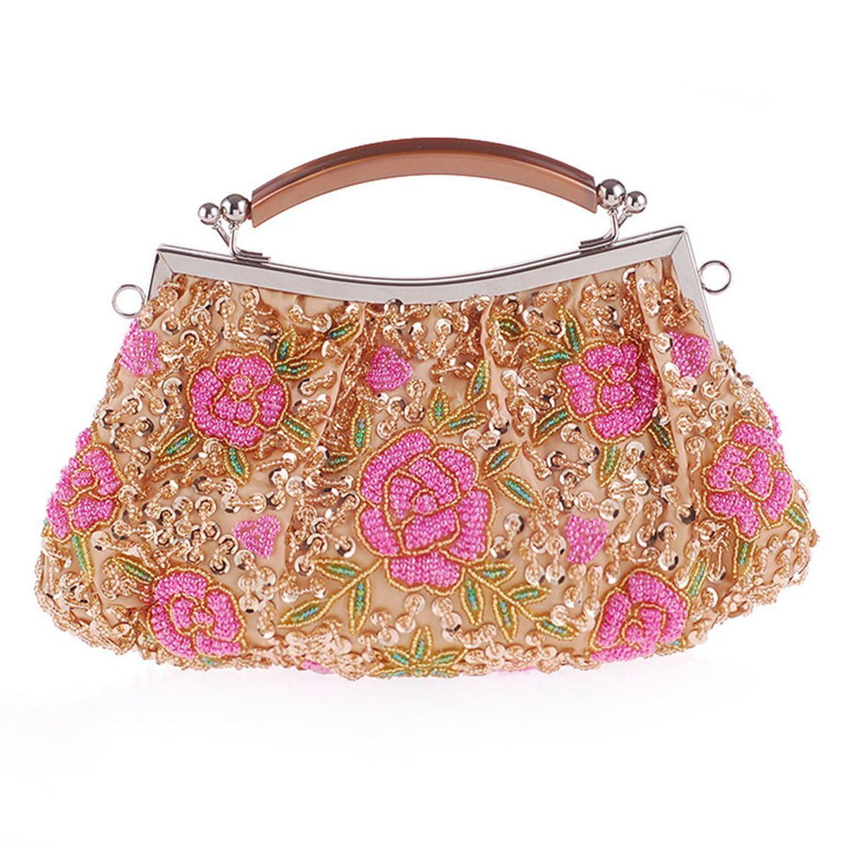 Gold Glitter Floral Clutch Bag