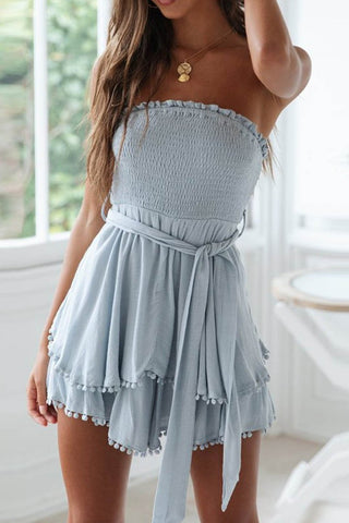 Cotton And Linen Ruffled Chest Strap Mini Dress