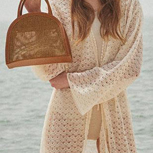 Fashion Casual Joint Knitting Beach Half-Round Hand Bag