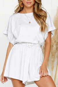 Elastic Waist  Belt Loops  Plain  Playsuits Jumpsuit