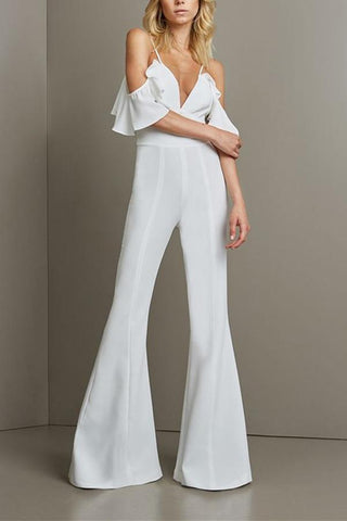 Sexy V Neckband Trim Body Trousers