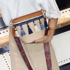 Fashion Knitting Color Block Fringe One Shoulder Bag