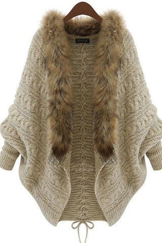 Women's Fur Collar Sweaters Knit Cardigan
