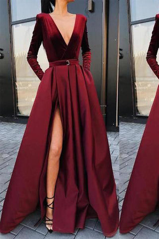 Deep V Collar Long Sleeves Fork Plain Maxi Dress