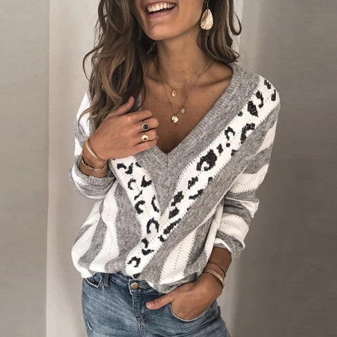 Womens V Neck Printed Colour Sweater