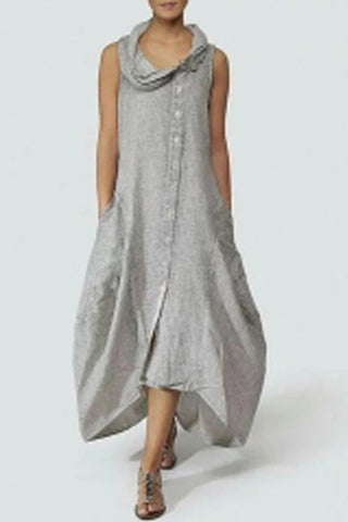 Cowl Neck  Single Breasted  Plain Maxi Casual Dress