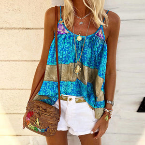 Fashion Sleeveless Printed Sling Top T-Shirt