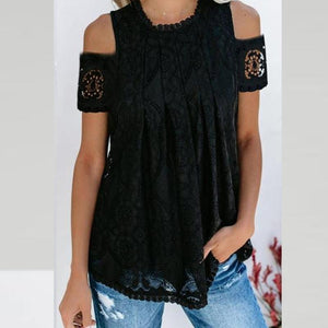 Round Neck  Cutout Decorative Lace  Lace  Blouses