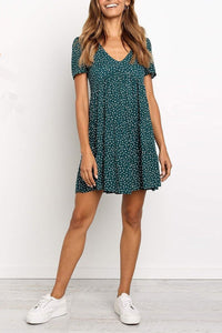 Printed V-Neck Short-Sleeved A-Line Loose Casual Mini Dress