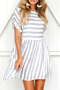 Round Neck Short Sleeve Striped Loose Large Size Mini Dress