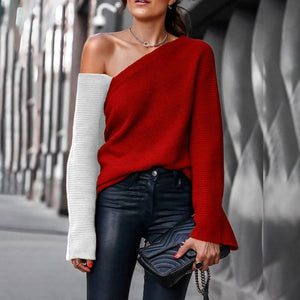 Fashion contrast stitching off-shoulder knit top Sweater