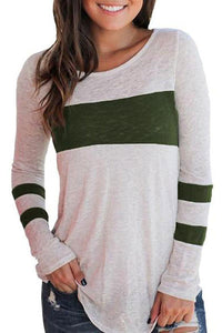 Round Neck Color Block Long Sleeve Casual T-Shirts
