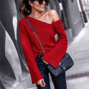Fashion Solid Color Off The Shoulder Knit Sweater