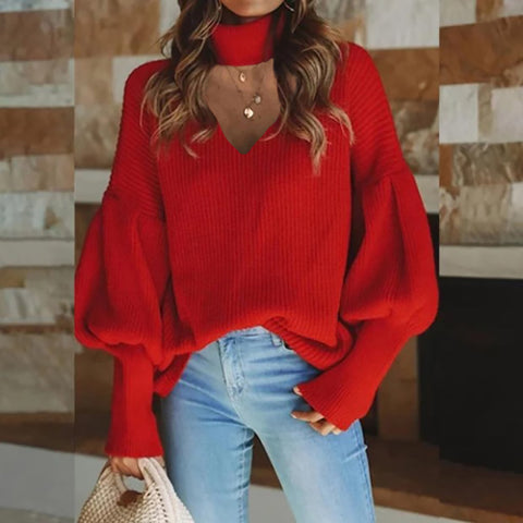Women's V-neck casual sweater
