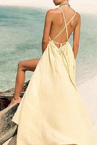 Casual Seaside Beach Vacation Bohemian Style Sexy V Neck Sling Maxi Dresses