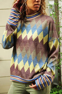 Geometry Color Block High Collar Long Sleeves Round Collar T Shirt