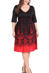 Plus-Size Vintage Print V-Neck Skater Dress